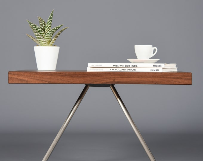 bedside table in mid century solid walnut / wooden coffee table handmade