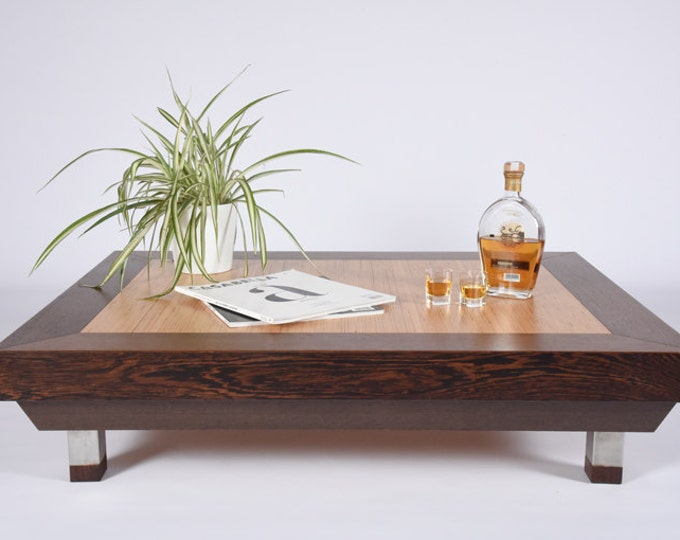 Mid-century square wooden coffee table / Low design table for living