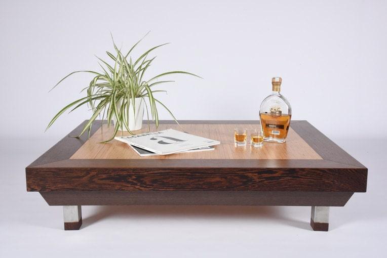 Wood Coffee Table Wenge And Birch / Modern Side Table Mid Century / Design Coffee  Table Handmade