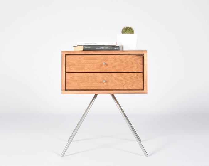 Modern Nightstand / Mid Century bedside table with double Drawers in solid antique wood wine barrels