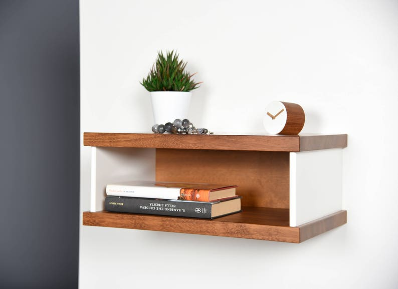 Modern Floating bedside table in Iroko and Corian / Entryway image 0
