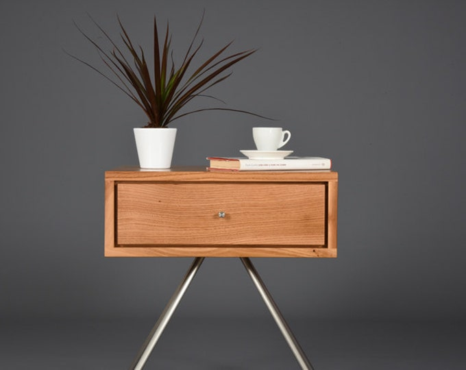 Floating Nightstand in antique solid wood mid century