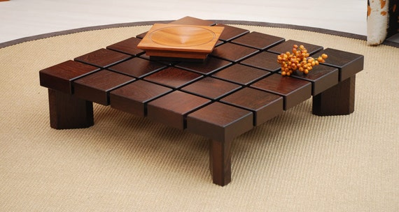 Modern Midcentury Square Wooden Coffee Table Wooden Low Design Etsy