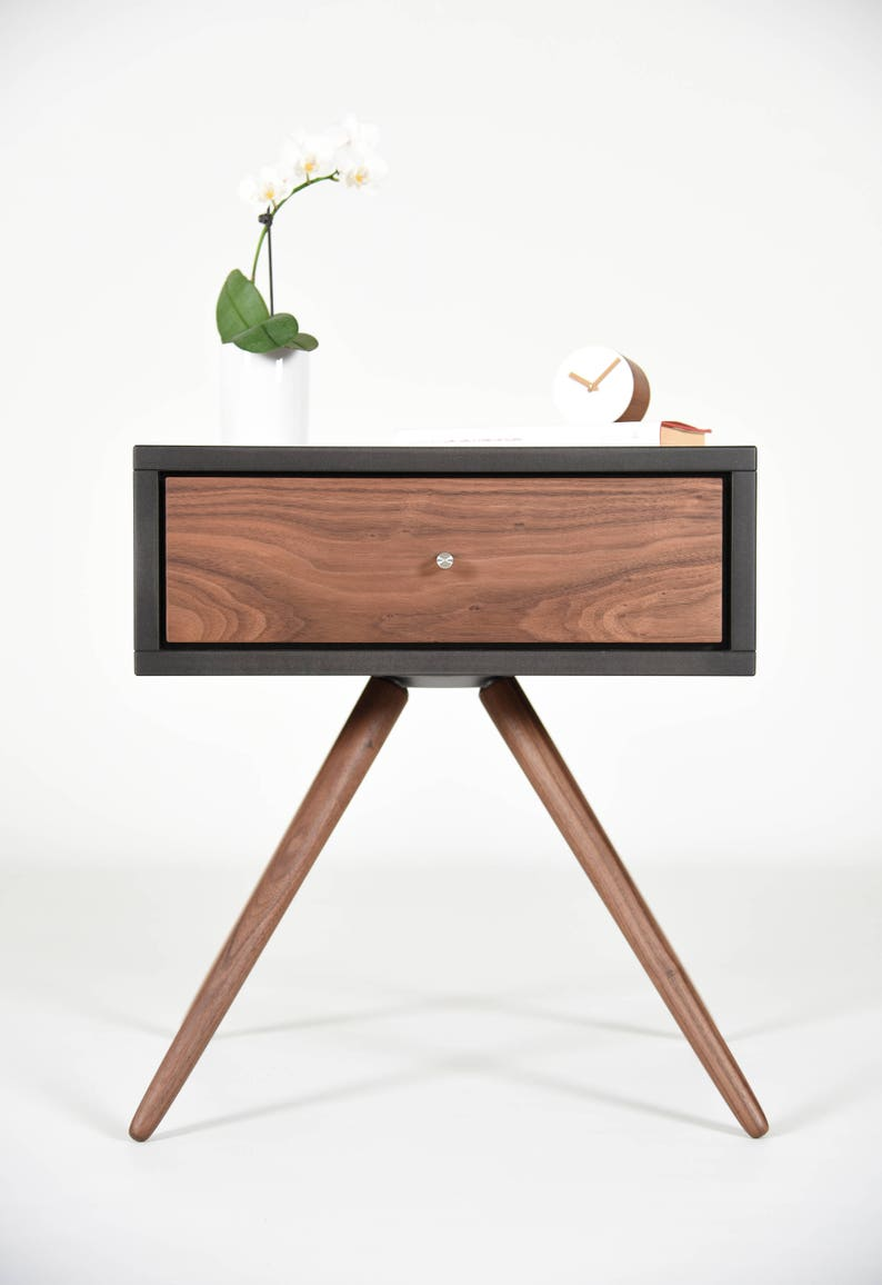 Modern Nightstand with one Drawer in solid Walnut and gray image 0