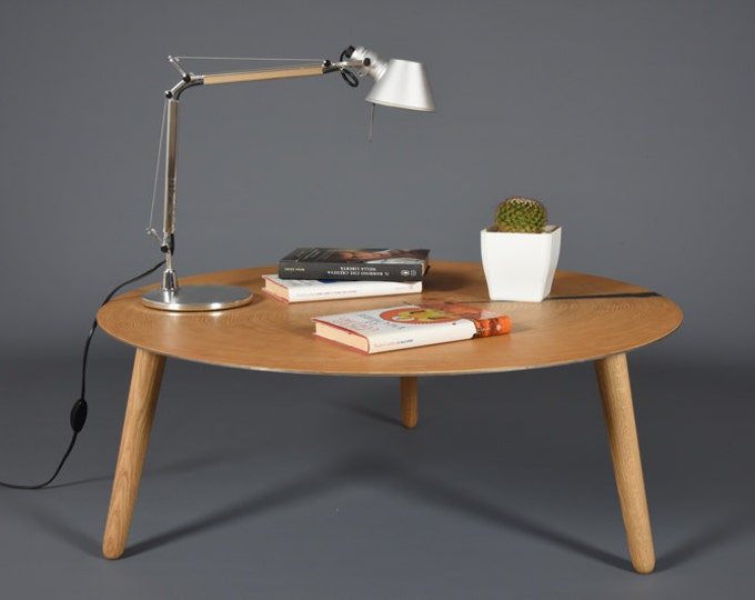 Mid-century round coffee table in oak and Cor-Ten steel