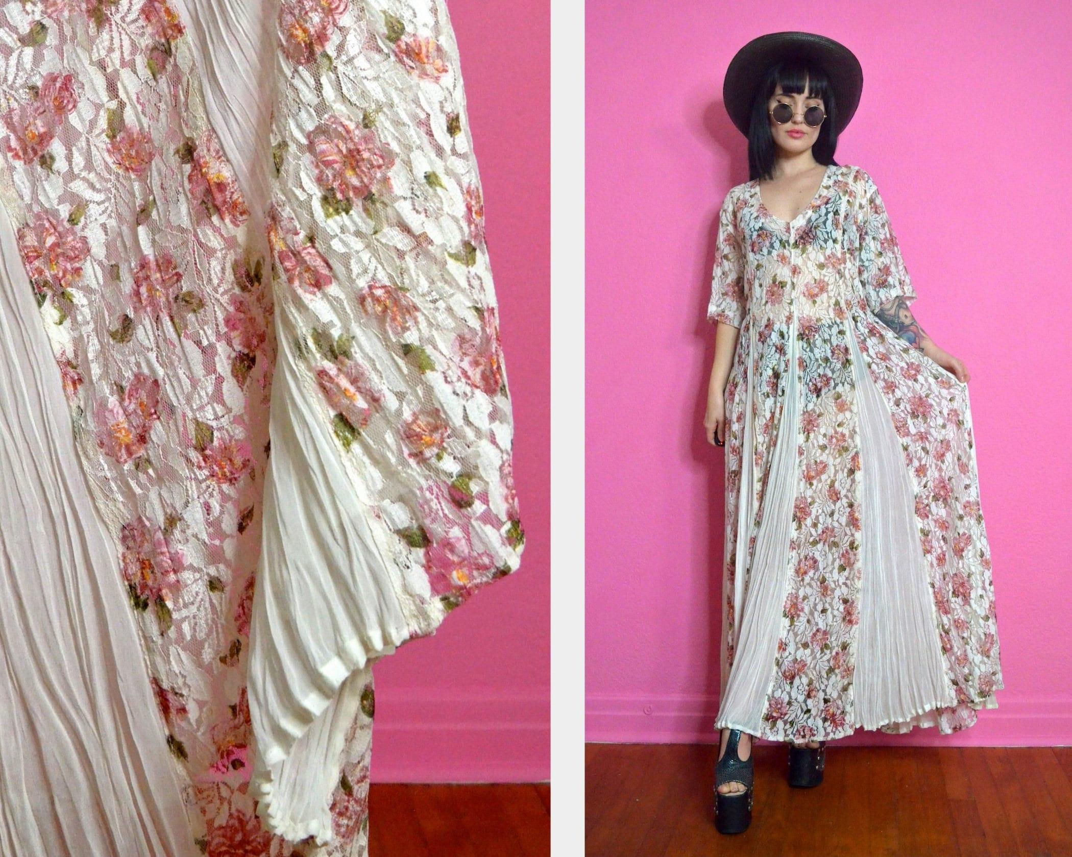0a0a139d7d5 vintage 90s floral lace maxi dress Ultra Draped rose chiffon