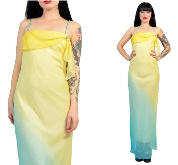 Vintage 90s Sheer Chiffon Maxi Dress Ombre Pastel Grunge Etsy