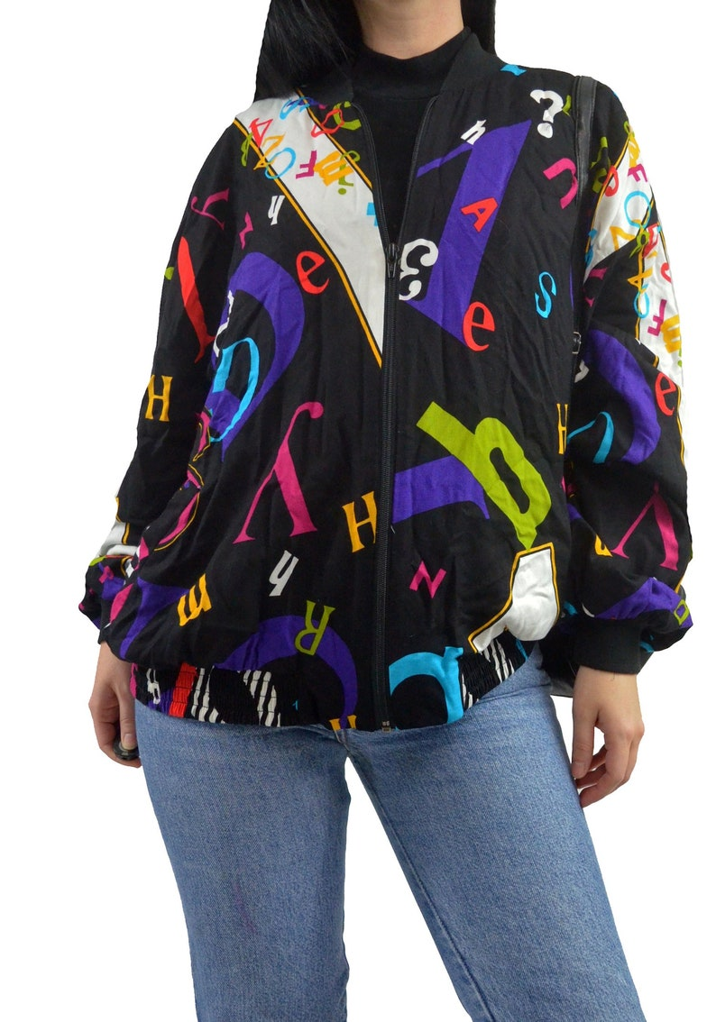 026be233b1 vintage 90s graphic print bomber jacket slouchy Alphabet letter number  print teacher jacket retro novelty medium
