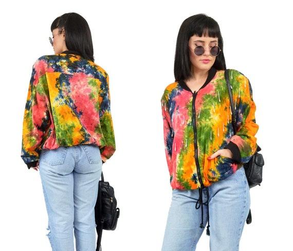 4376c51d1685 vintage 90s tie dye jacket retro beaded fringe hippie boho