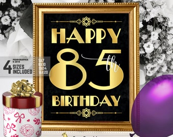Happy 85th Birthday Sign Printable Decor Roaring 20s Gatsby Party Decoration Art Deco Black Gold Instant Download