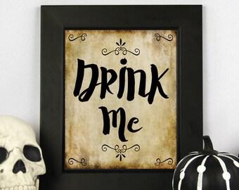 Drink Me Sign, Printable Halloween, Halloween Quote, Halloween Party Sign, Halloween Table Decor, Halloween Decor, Halloween Party Decor
