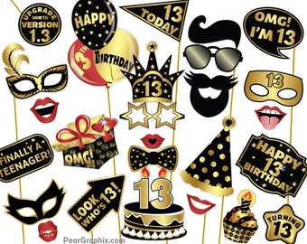 13th Birthday Photo Booth Props Girl Boy Party Decorations Mustache Lips Black Gold Printable PDF