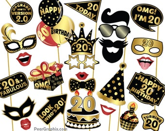 20th Birthday Photo Booth Props Twentieth Party Black Gold Supplies 50pc Printable PDF Instant Download