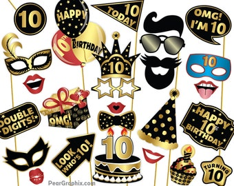 10th Birthday Photo Booth Props Girl Boy Decorations Selfie Station Black Gold Printable PDF