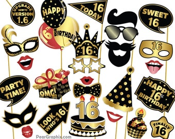 Sweet 16 Photo Booth Props 16th Birthday Decorations Sixteenth Party Teenage Boy Girl Black Gold Printable PDF