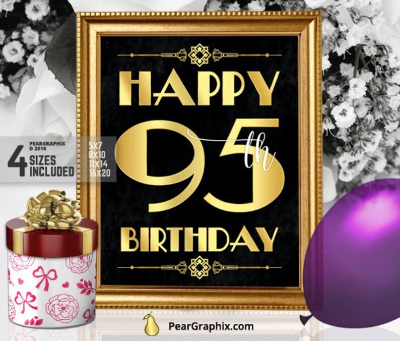 Happy 95th Birthday Sign Printable Decor