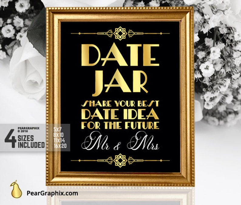 Date Jar Great Gatsby Wedding Sign DIY Printable Reception Engagement Party Roaring 20s Art Deco Black Gold Instant Download
