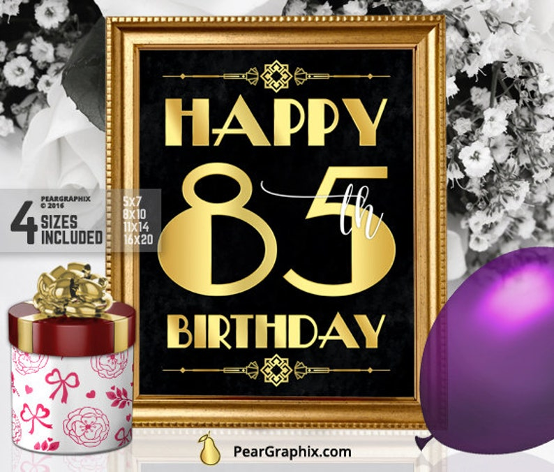 Happy 85th Birthday Sign Printable Decor