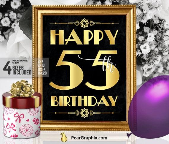 Happy 55th Birthday Sign Printable Decor