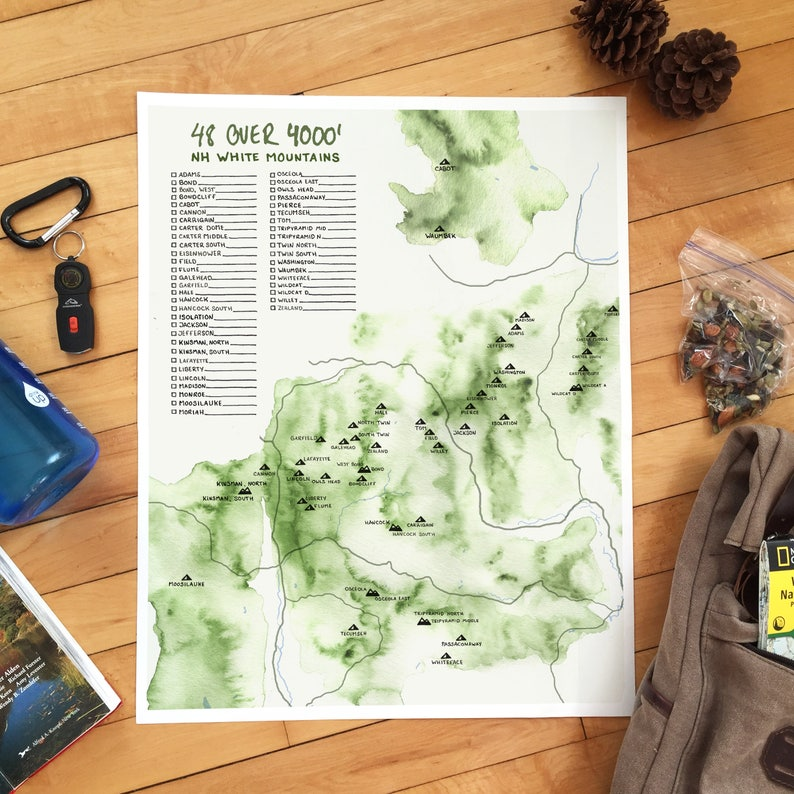 48 over 4000'  White Mountains Map Poster image 0