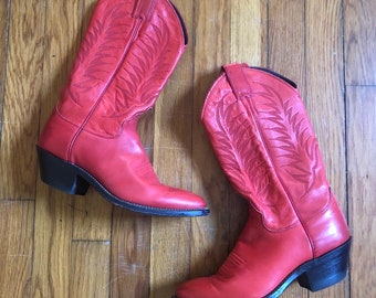 e28837cf Vintage Justin Red Stitched Leather Country Western Cowboy Boots Women's 6