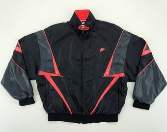 Nike Windbreaker Men Size L 90s Nike Jacket Vintage Track Top Black and  Neon Pink f283896b8