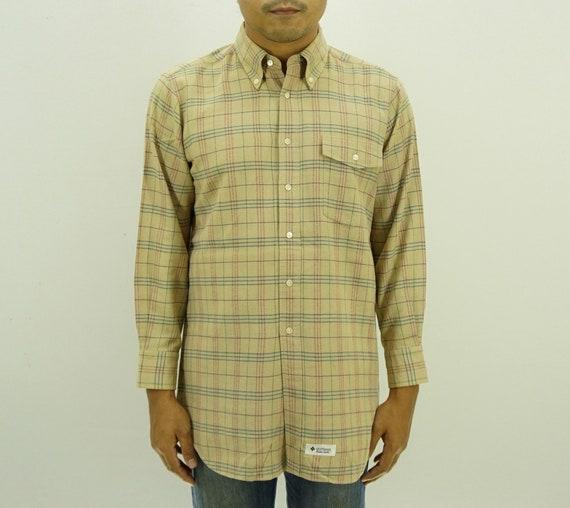 first look good selling purchase cheap Aquascutum Shirt Men Size S/M 90s Aquascutum Signature Shirt Vintage Order  Made Plaid Long Sleeve Button Up Shirt