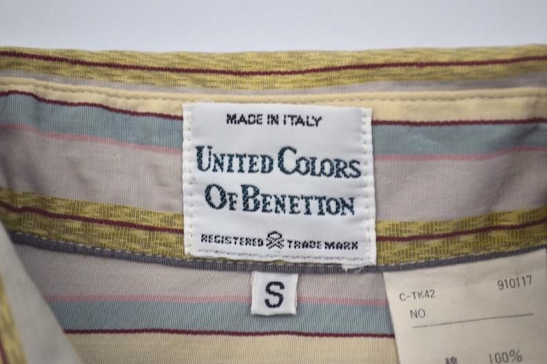 Benetton Shirt Men Size S 90 Benetton Button Down Shirt Vintage Multicolor Stripe Shirt Made in Italy