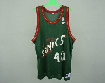 Kemp Sonics Jersey Men Size 48 90s Shawn Kemp Champion Vintage NBA Seattle Supersonics Jersey Size XL