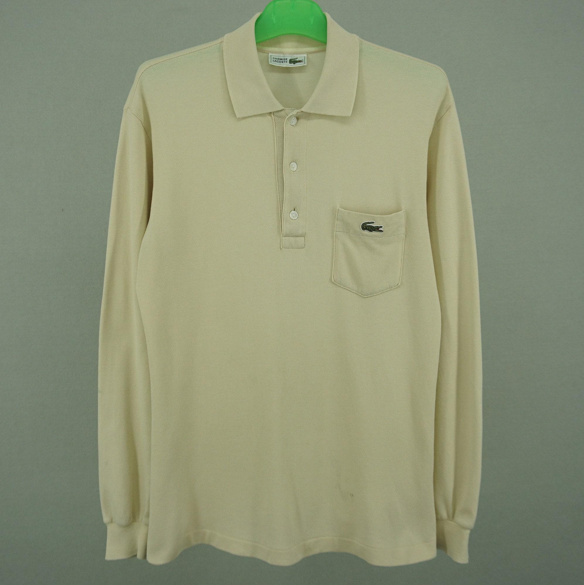 cd157585d7fed Lacoste Polo Shirt Men Size M/L 90s Lacoste Shirt Vintage Chemise Lacoste  Golf Shirt Long Sleeve