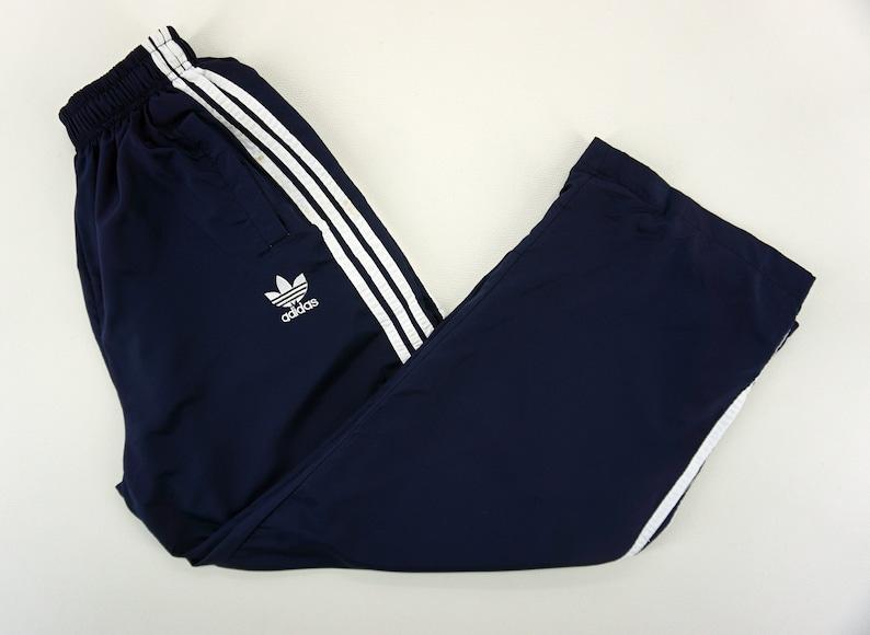 Adidas Vintage Pants Mens Medium W20 36xL27 90s Adidas Windbreaker Pants Vintage 3 Stripes Bottom
