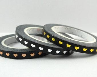 Washi Tape Sample - Simply Gilded Washi - Heart Washi - Skinny Washi - Foil Washi