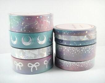 Washi Tape Sample - Simply Gilded Washi - Crystal Galaxy Washi - Moon Washi - Bow Washi - Foil Washi