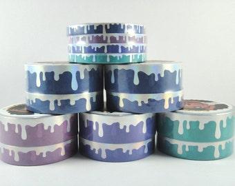 Washi Tape Sample - Cookie Sticker Co Washi - Drip Washi - Foil Washi - Heart On Ice OOPS