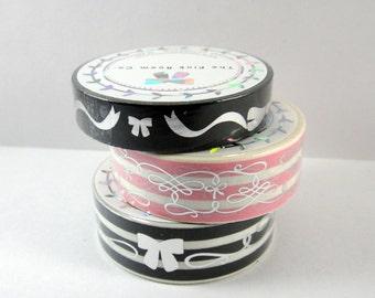 Washi Tape Sample - The Pink Room Co Washi - Foil Washi - Bow Washi - Striped Washi
