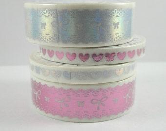 Washi Tape Sample - The Pink Room Co Washi - Foil Washi - Bow Washi - Holo Washi - Pink Washi - Lace Washi