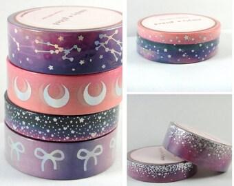 Washi Tape Sample - Simply Gilded Washi - Galaxy Washi - Sunset Charm - Bow Washi - Foil Washi - Moon Washi