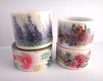 Washi Tape Sample - Floral Washi - Flower Washi - 20mm Washi - 25mm Washi - 30mm Washi