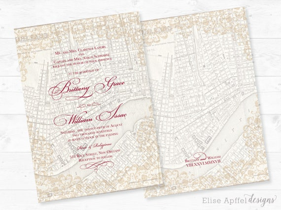 Wedding Invitations New Orleans: New Orleans Wedding Invitation New Orleans Vintage Map
