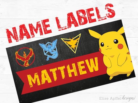 Pokemon name labels  10 pokemon name labels, 2x4 inch name label, custom  name labels, personalized name label