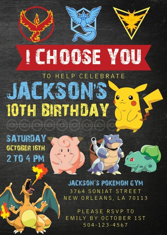pokemon invitations chalkboard pokemon invitation pokemon etsy