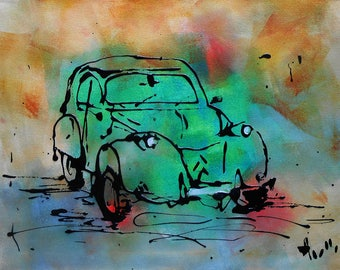 "Painting ""The green 2CV"""