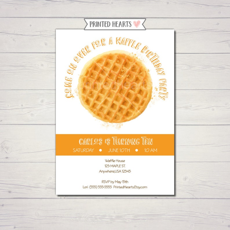 Waffle Birthday Party Invitation Illustrated
