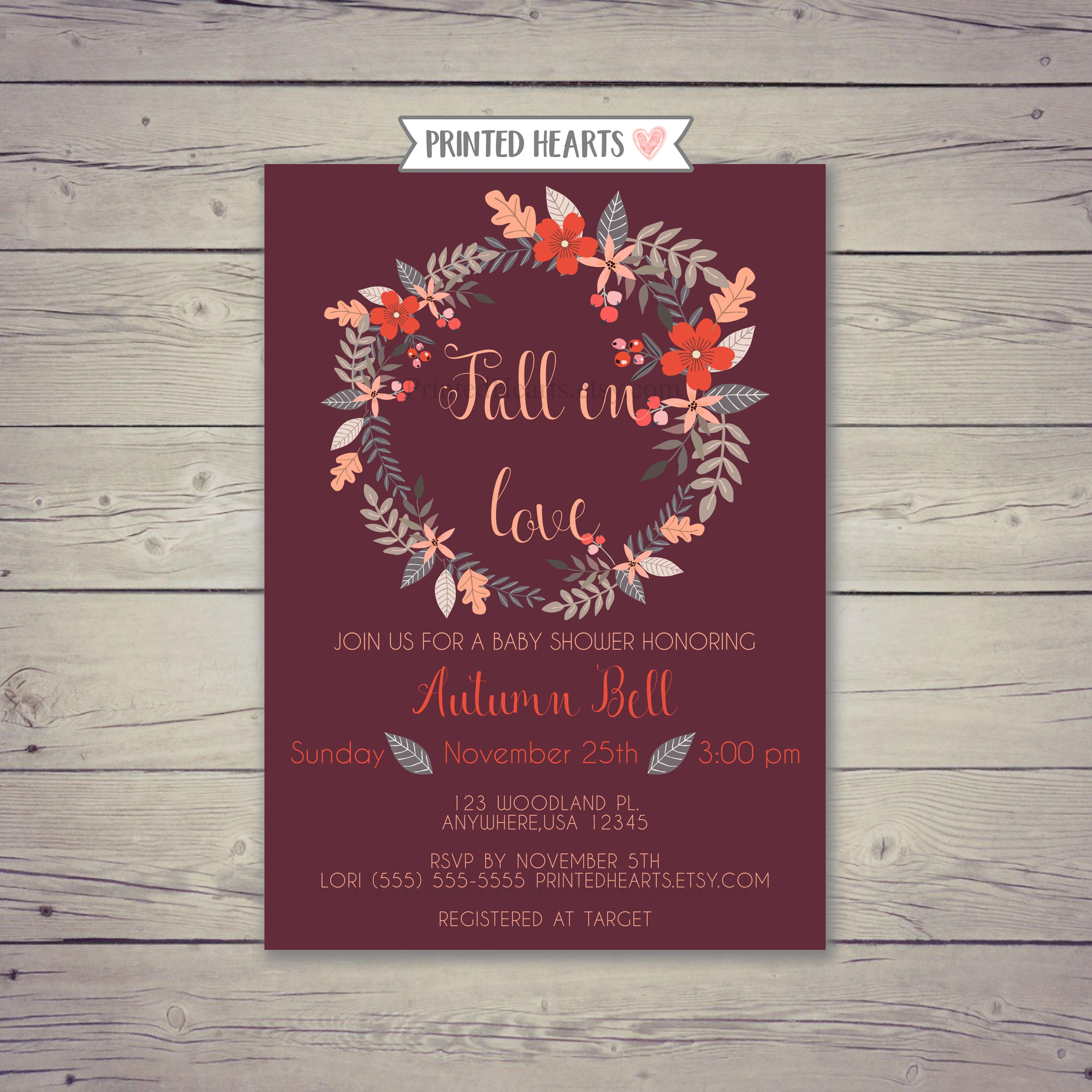 Fall In Love Baby Shower Invitation Autumn Baby Shower | Etsy