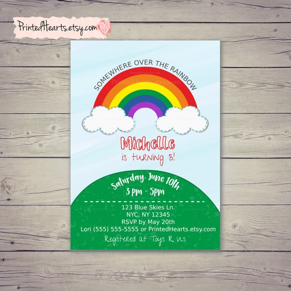 rainbow birthday invitation somewhere over the rainbow rainbow