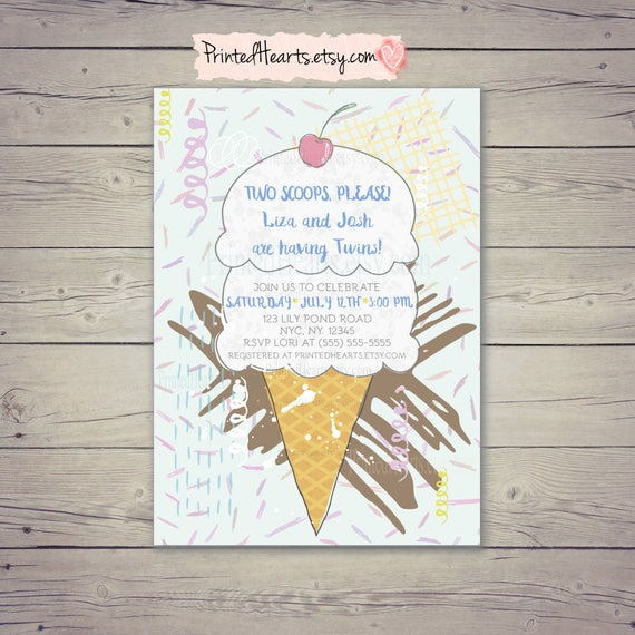 Ice Cream Baby Shower Invites Two Scoops Twins Baby Shower Etsy