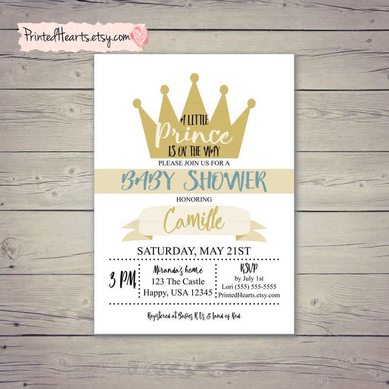 Prince Invitation A Little Prince Is On The Way Baby Boy Etsy