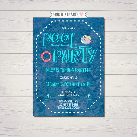 Pool Party Invitation Summer Birthday Swimming
