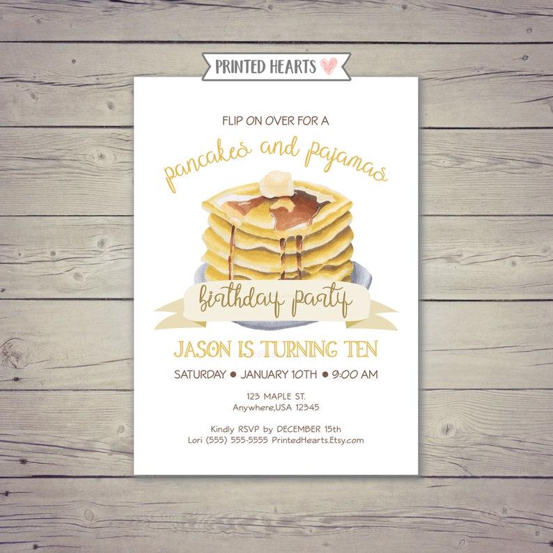 Pancakes Pajamas Invitation Invite 10th Birthday