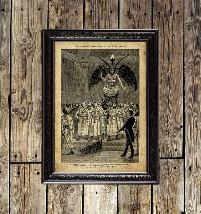 The Mysteries of Freemasonry templar Baphomet masonic wall | Etsy